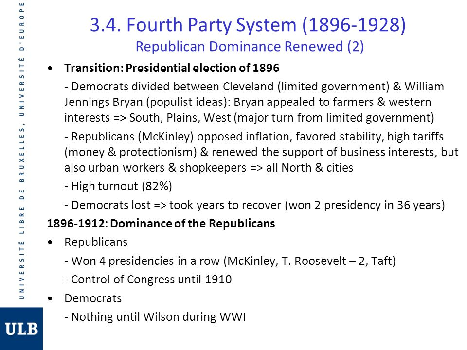 3.4. Fourth Party System (1896-1928) Republican Dominance Renewed (2)