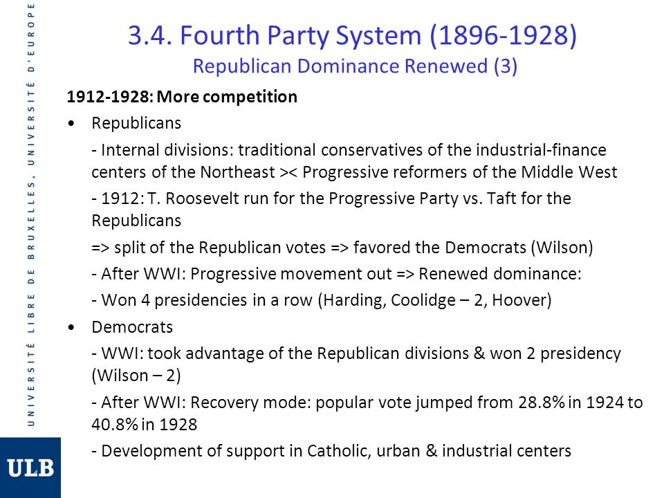3.4. Fourth Party System (1896-1928) Republican Dominance Renewed (3)