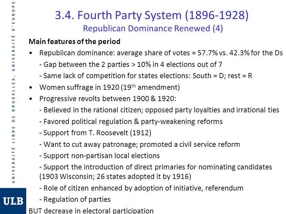 3.4. Fourth Party System (1896-1928) Republican Dominance Renewed (4)