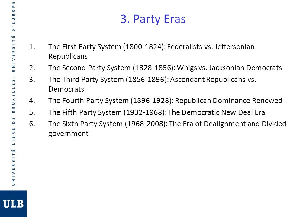 3. Party Eras The First Party System (1800-1824): Federalists vs. Jeffersonian Republicans.