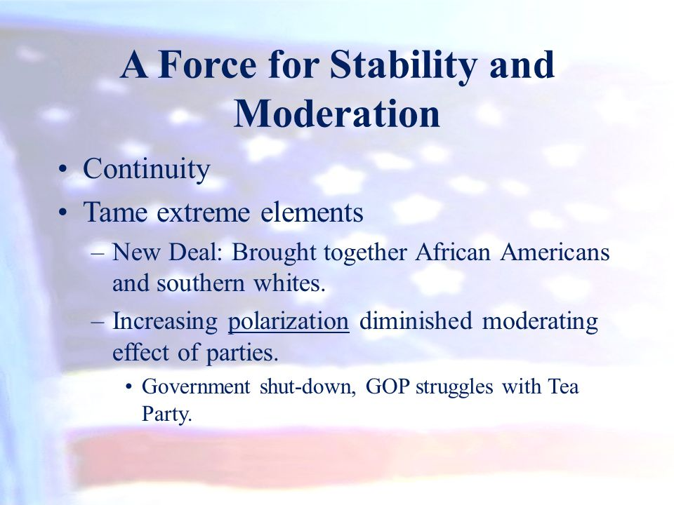 A Force for Stability and Moderation