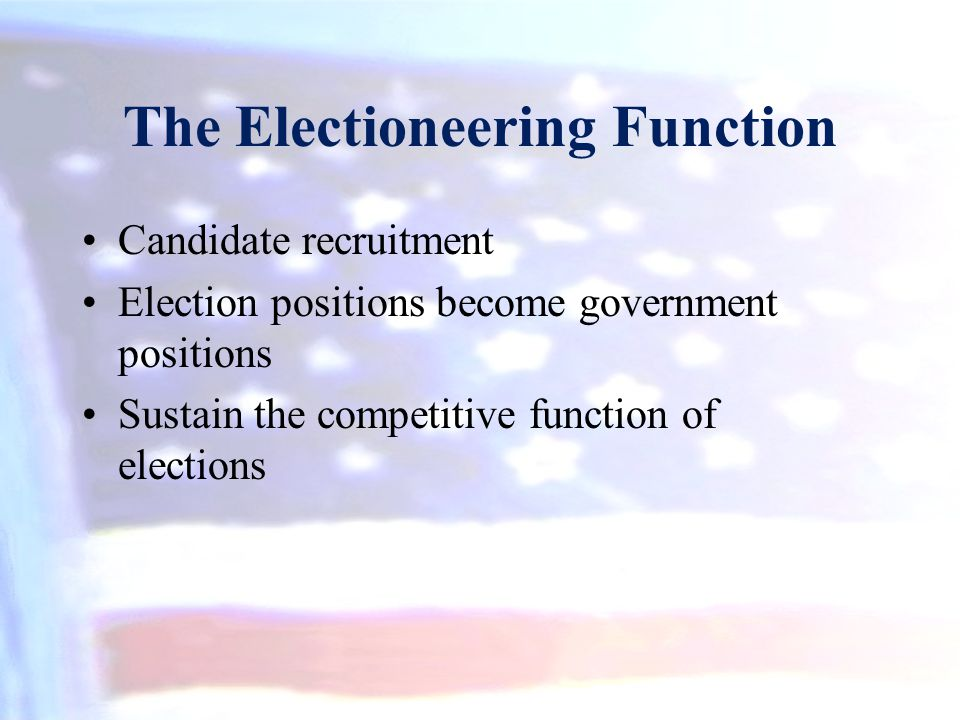 The Electioneering Function