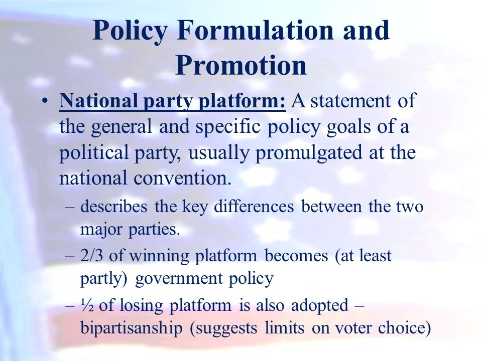 Policy Formulation and Promotion