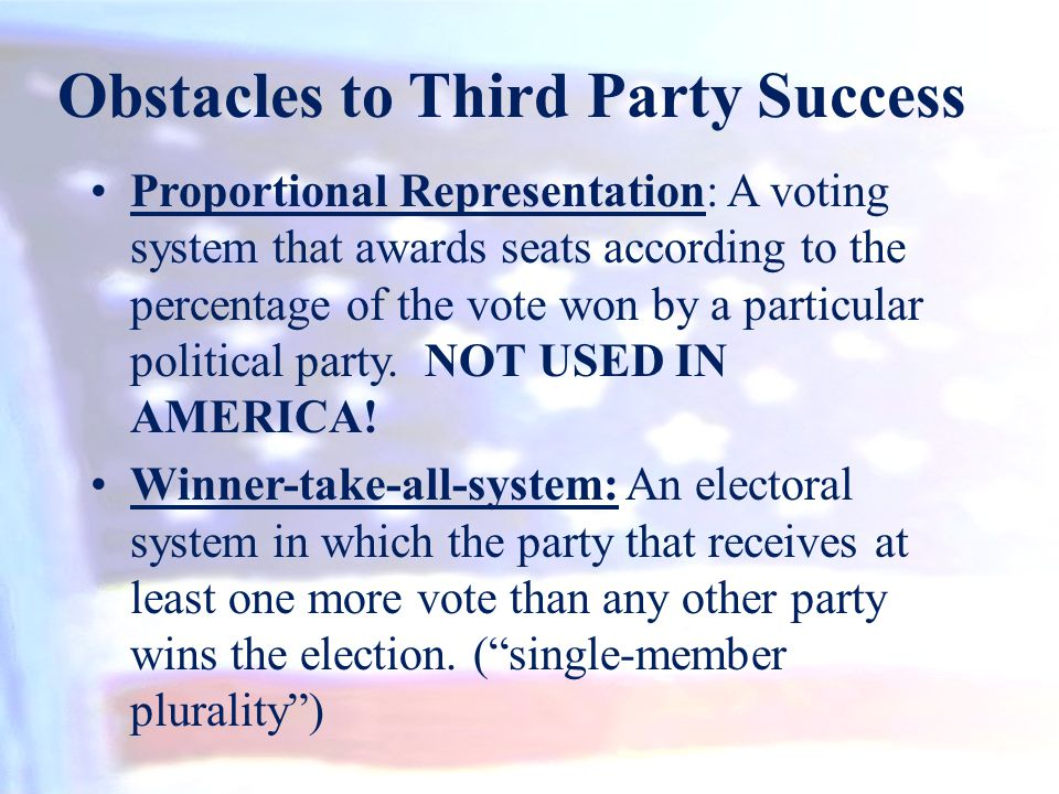 Obstacles to Third Party Success