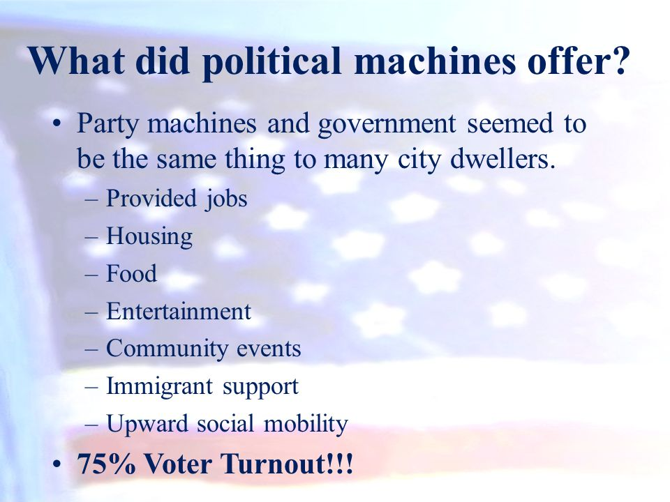 What did political machines offer