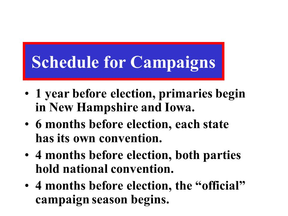 Schedule for Campaigns