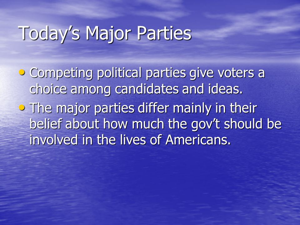 Today's Major Parties Competing political parties give voters a choice among candidates and ideas.