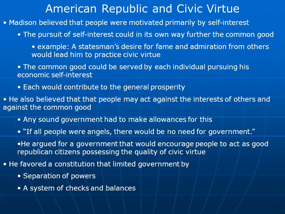 American Republic and Civic Virtue