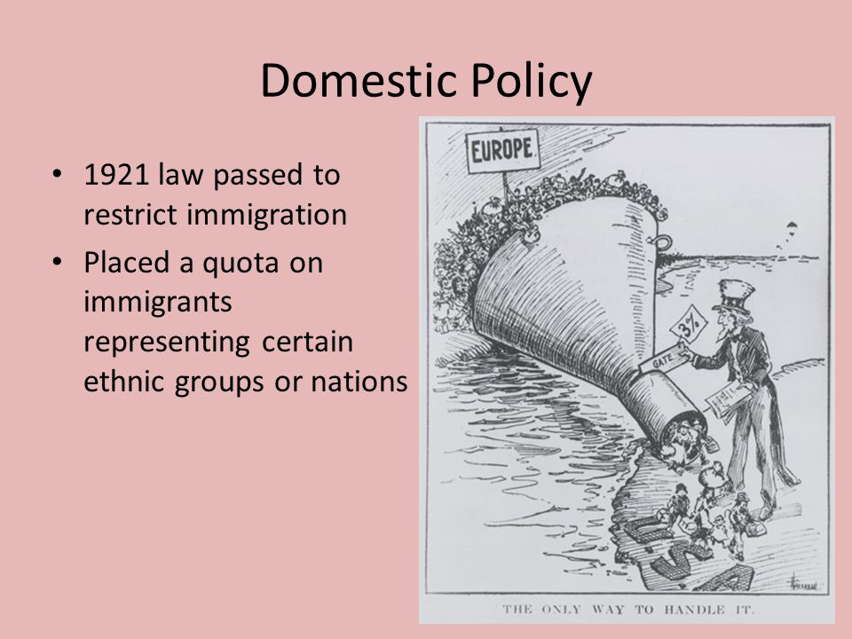 Domestic Policy 1921 law passed to restrict immigration