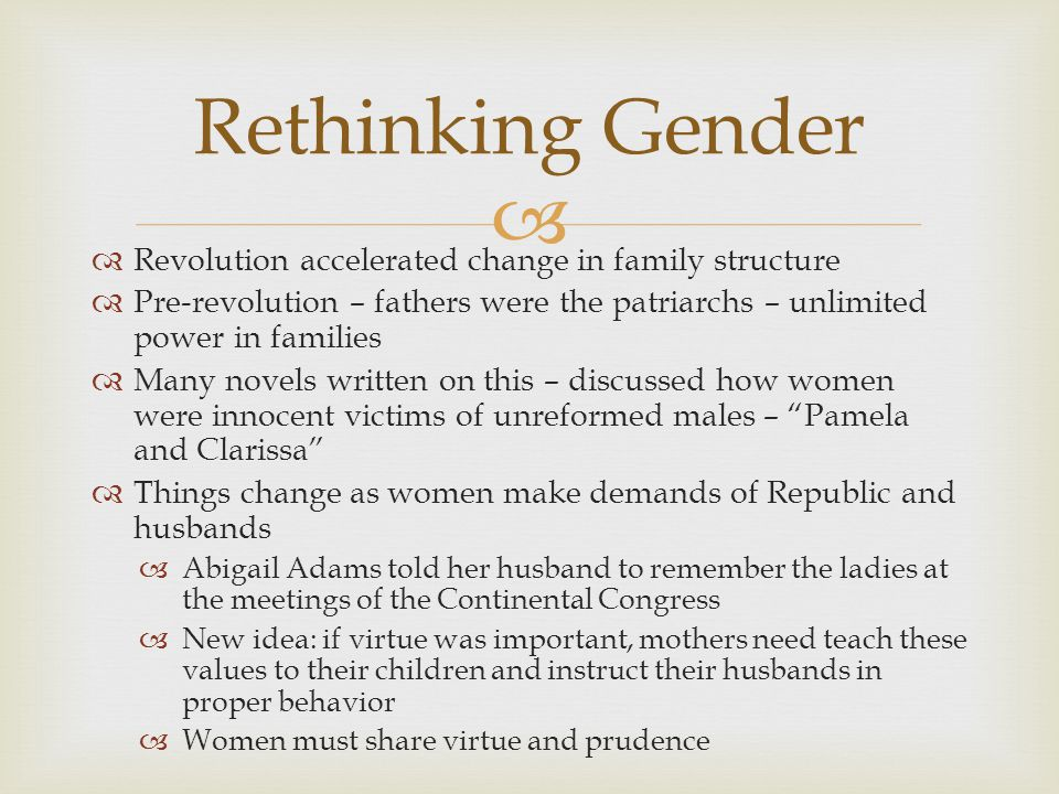 Rethinking Gender Revolution accelerated change in family structure