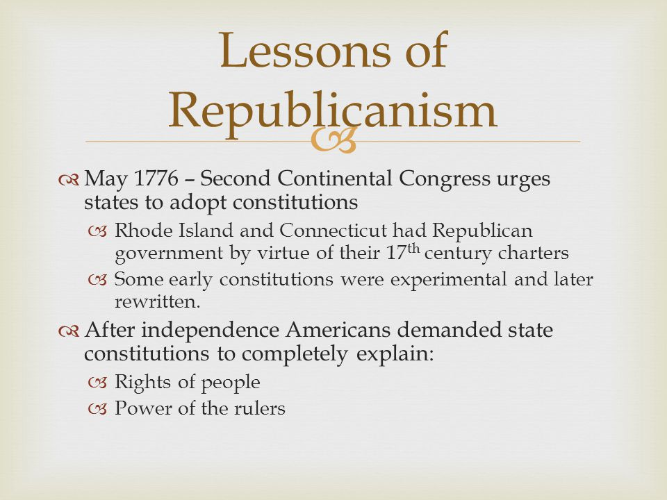 Lessons of Republicanism