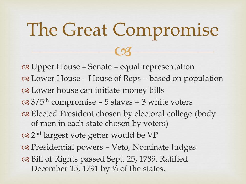 The Great Compromise Upper House – Senate – equal representation