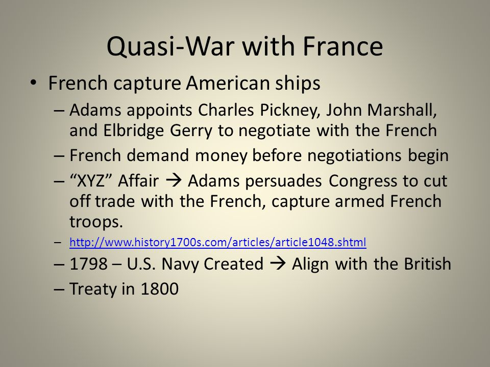 Quasi-War with France French capture American ships