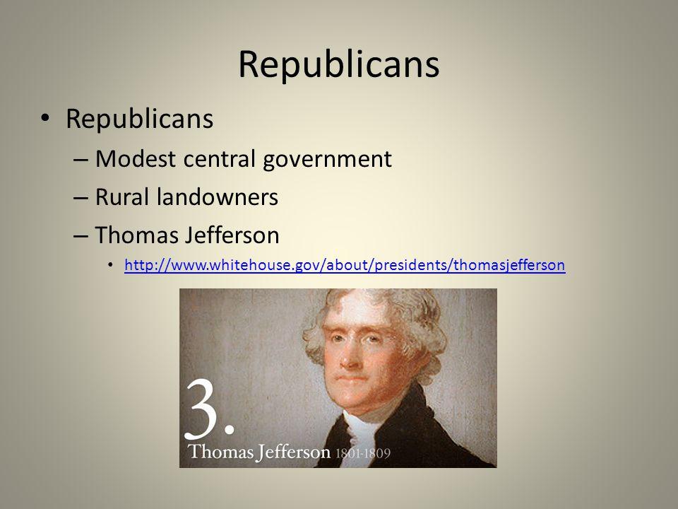 Republicans Republicans Modest central government Rural landowners