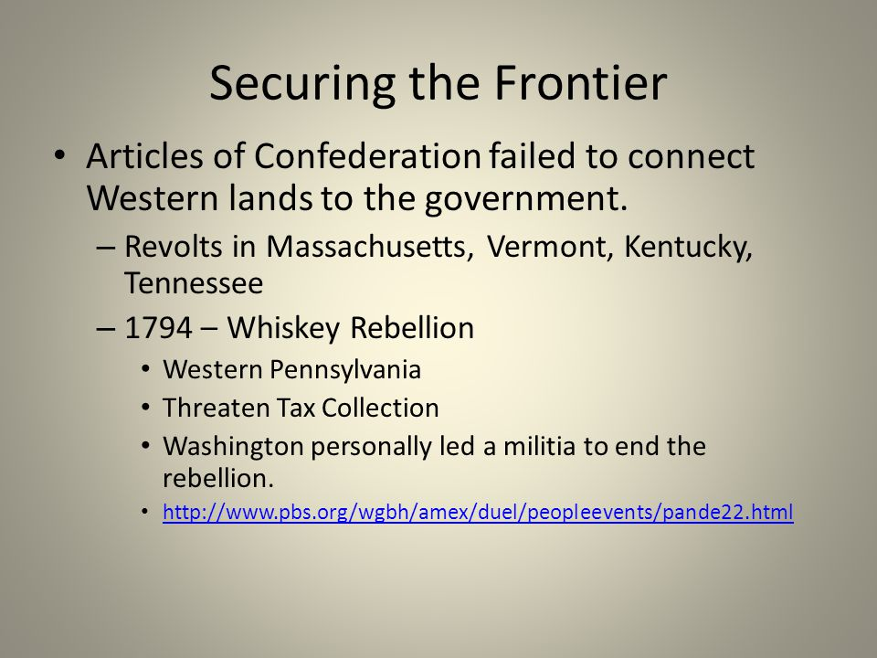 Securing the Frontier Articles of Confederation failed to connect Western lands to the government.