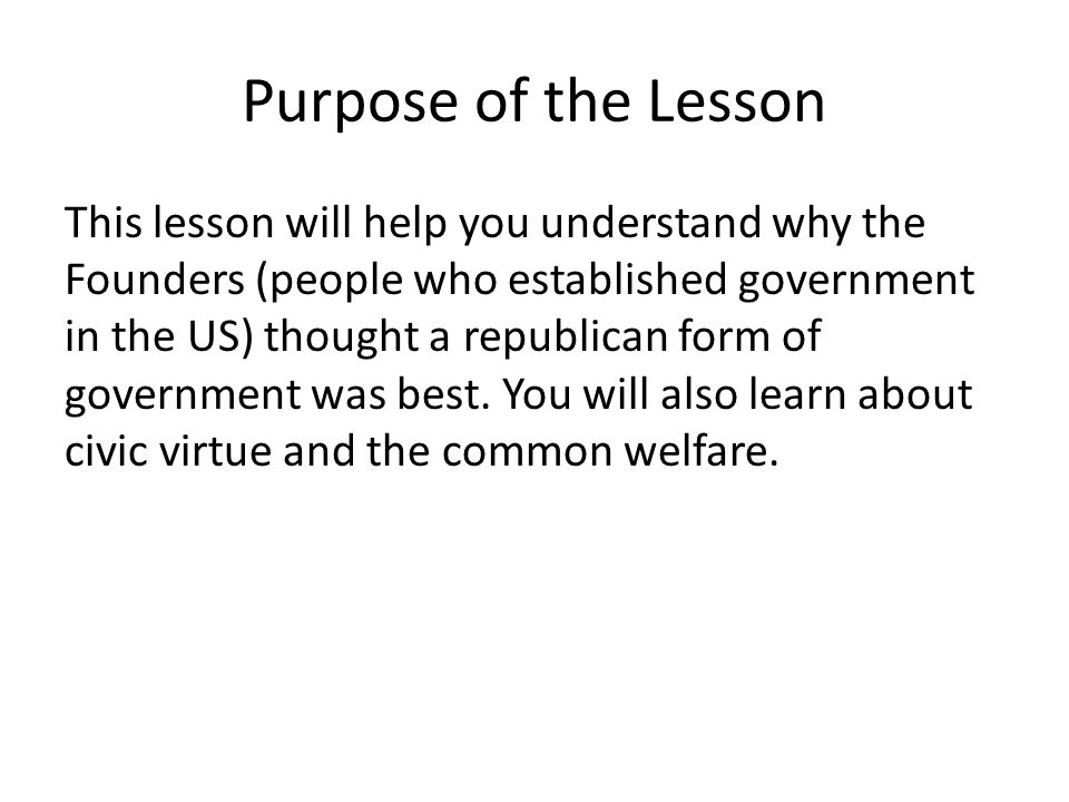 Purpose of the Lesson