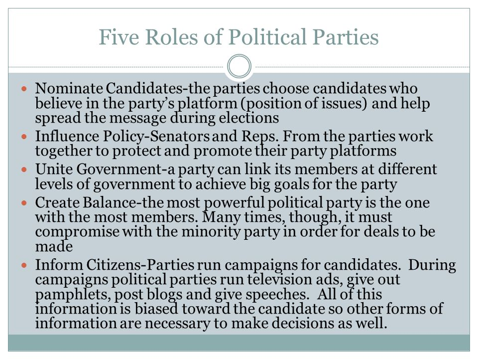 Five Roles of Political Parties