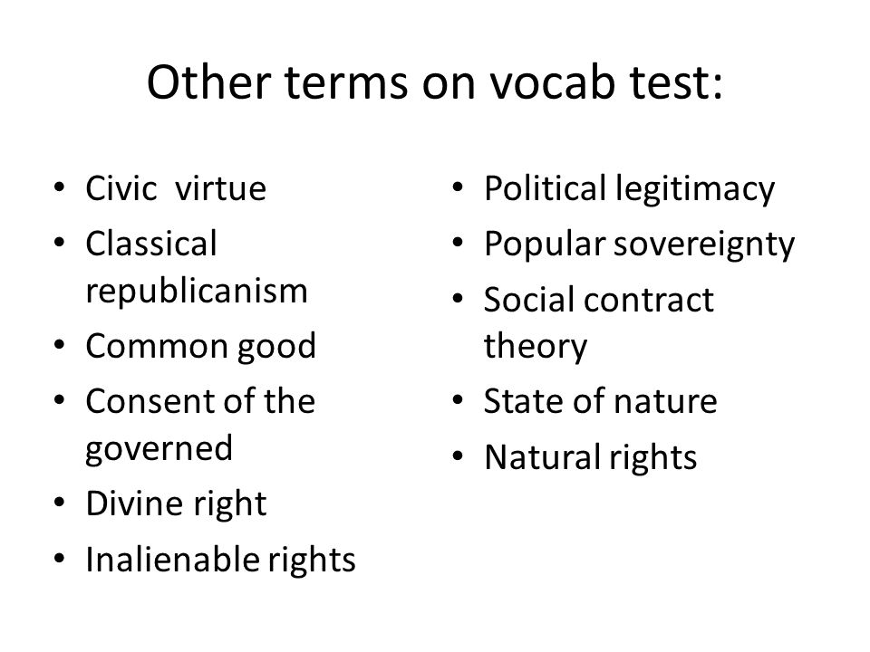 Other terms on vocab test: