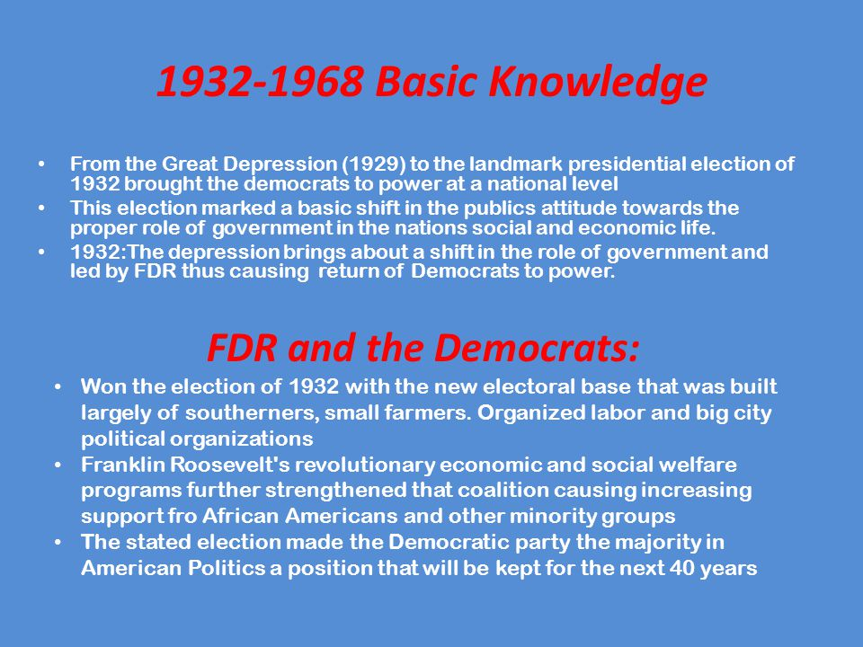 1932-1968 Basic Knowledge FDR and the Democrats: