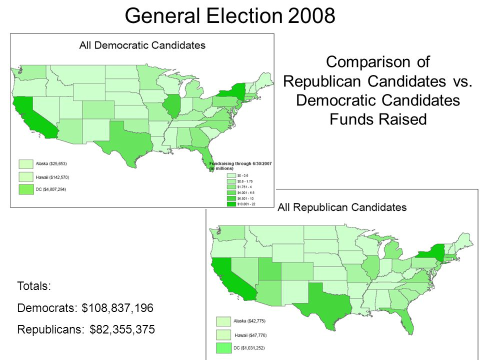 General Election 2008 Comparison of Republican Candidates vs. Democratic Candidates Funds Raised.