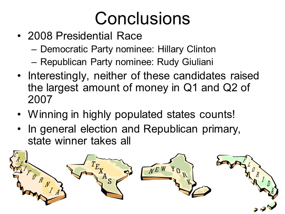 Conclusions 2008 Presidential Race