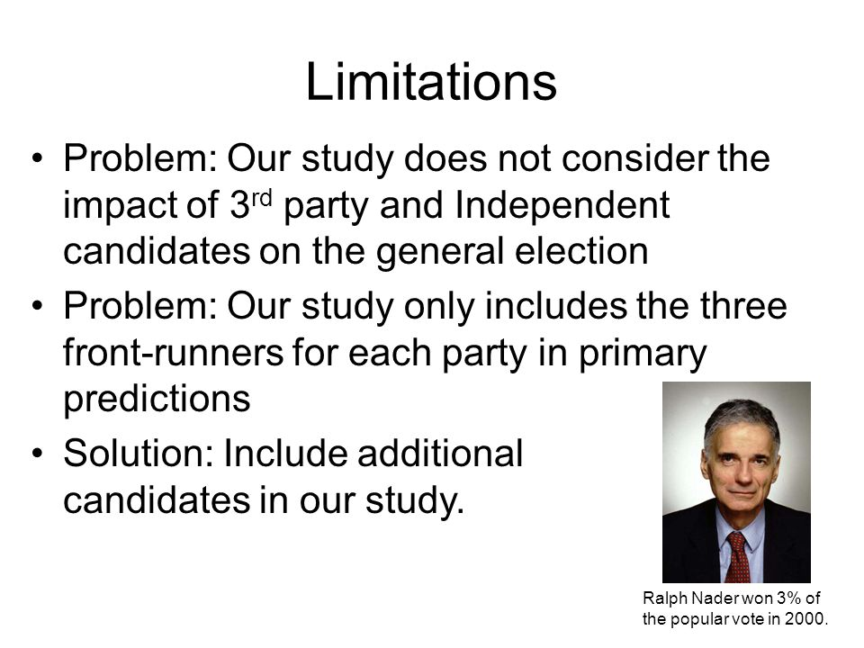 Limitations Problem: Our study does not consider the impact of 3rd party and Independent candidates on the general election.