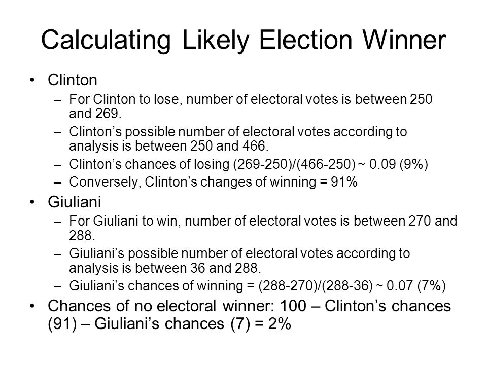 Calculating Likely Election Winner