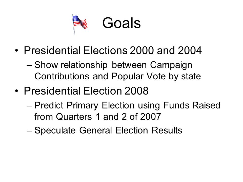 Goals Presidential Elections 2000 and 2004 Presidential Election 2008