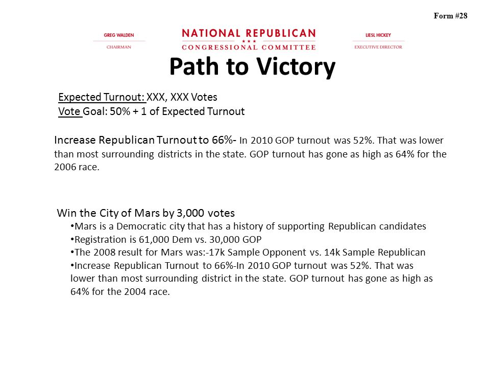 Form #28 Path to Victory. Expected Turnout: XXX, XXX Votes. Vote Goal: 50% + 1 of Expected Turnout.