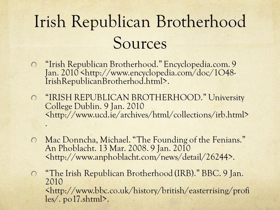 Irish Republican Brotherhood Sources