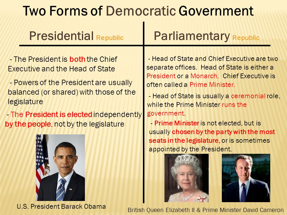 parliamentary and presidential goverment A government is the organization, machinery, or agency, through which a political unit exercises its authority, controls and administers public.