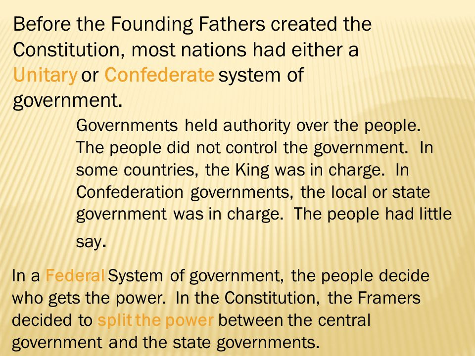 Before the Founding Fathers created the Constitution, most nations had either a Unitary or Confederate system of government.