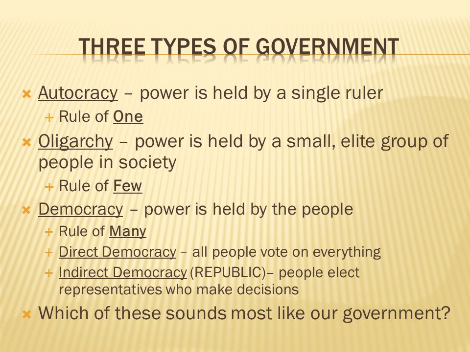Three types of government