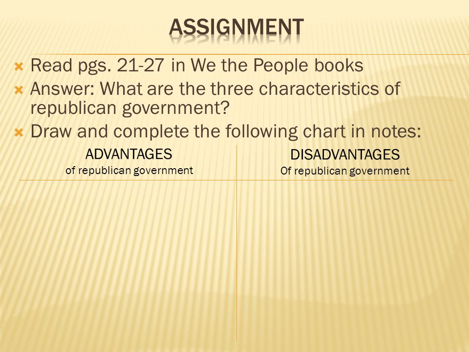 Assignment Read pgs. 21-27 in We the People books