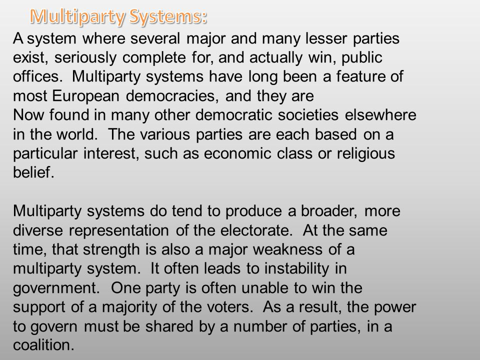 Multiparty Systems: