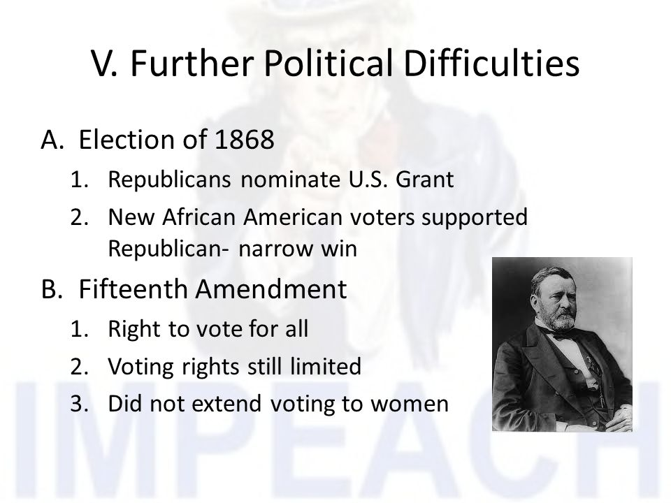V. Further Political Difficulties