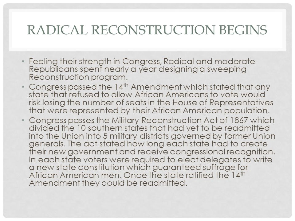 Radical reconstruction begins