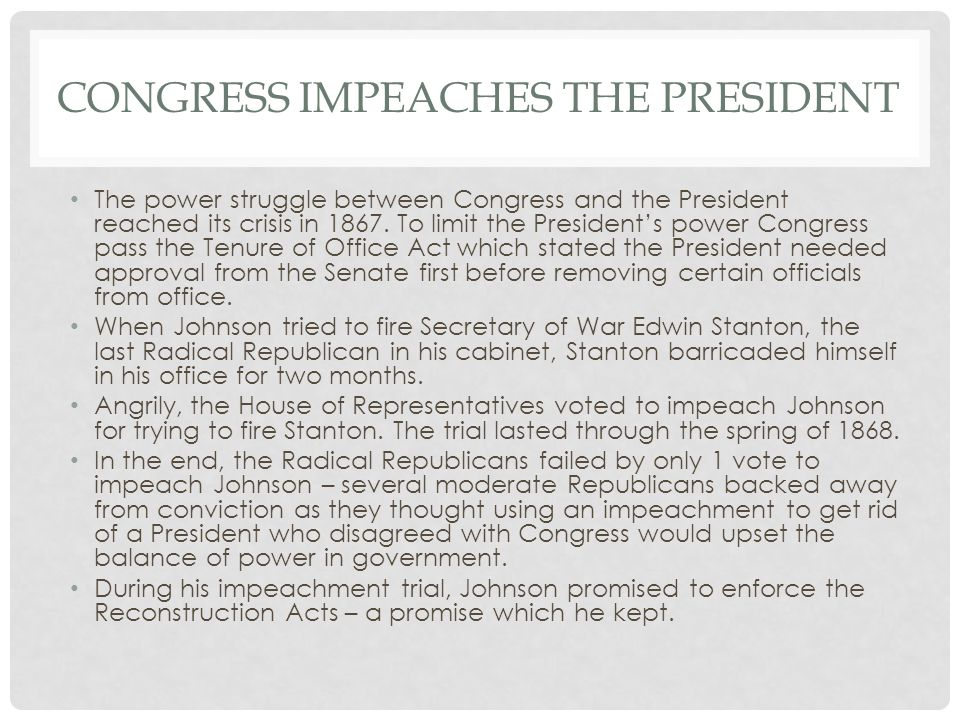 Congress impeaches the president