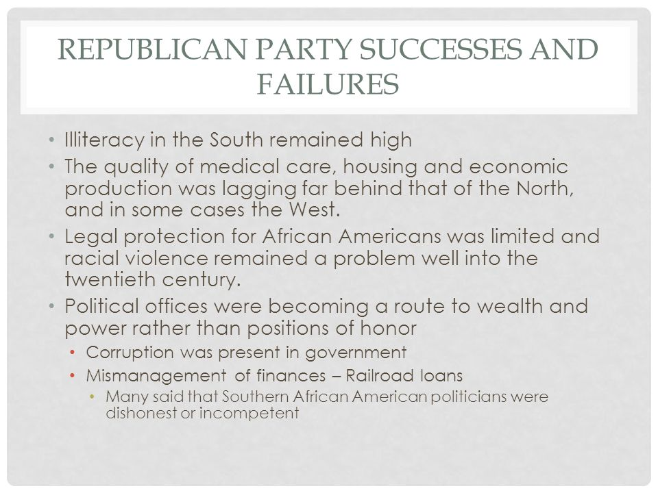 Republican party successes and failures