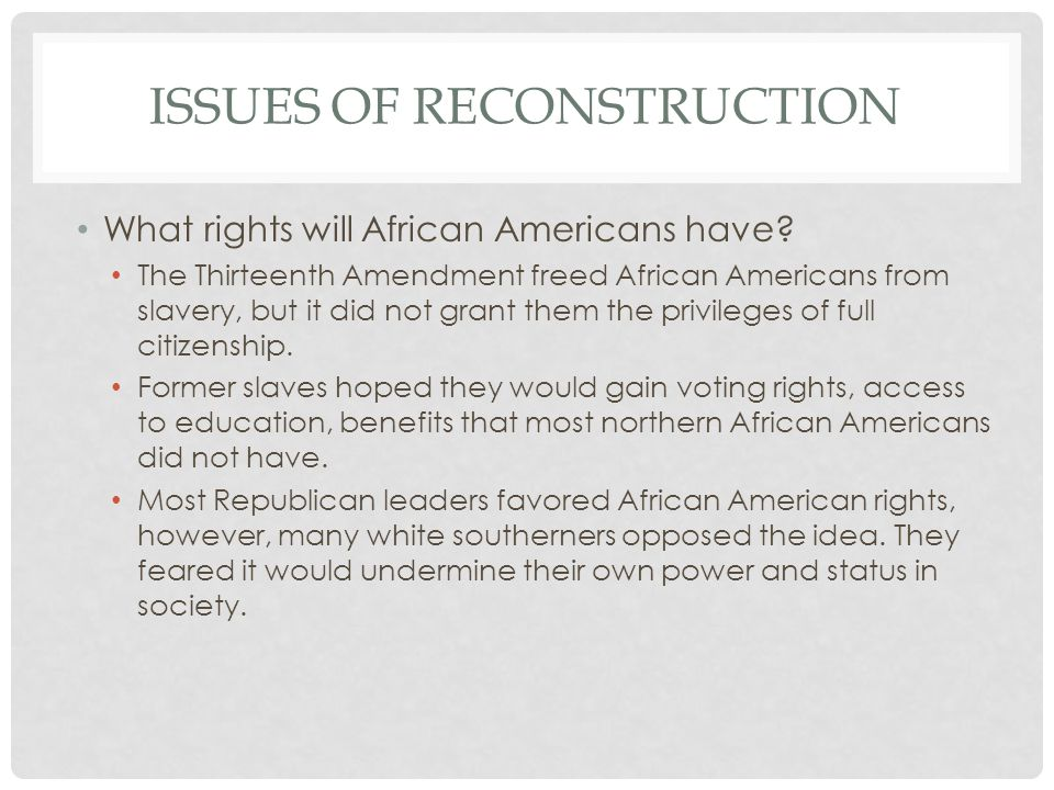 Issues of reconstruction