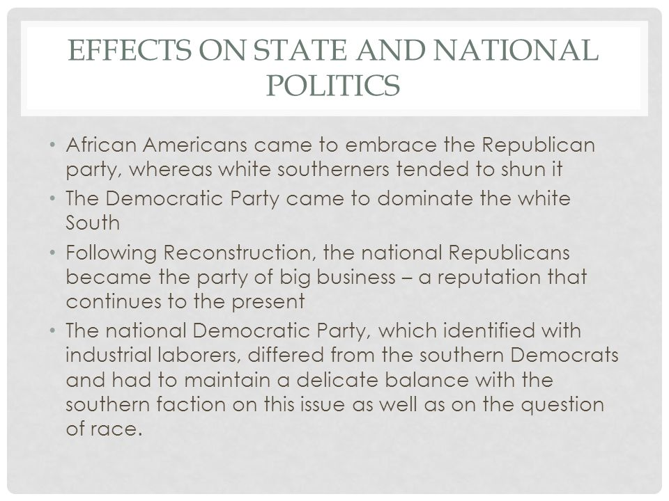 Effects on state and national politics