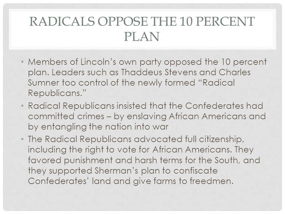 Radicals oppose the 10 percent plan