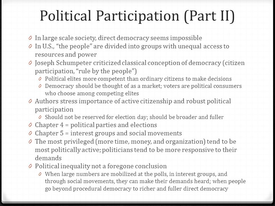 Political Participation (Part II)