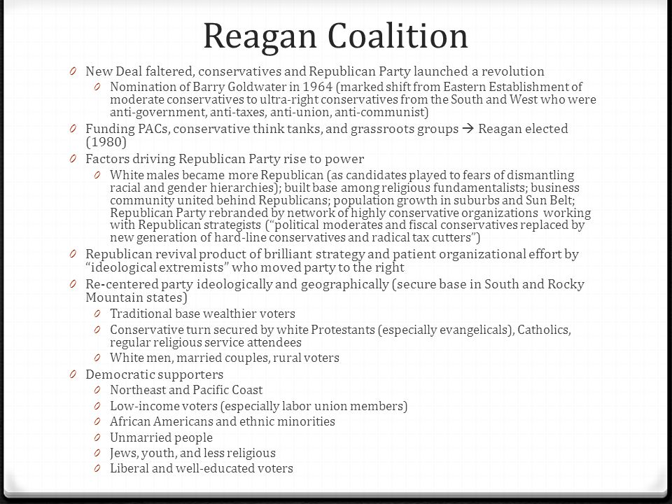 Reagan Coalition New Deal faltered, conservatives and Republican Party launched a revolution.