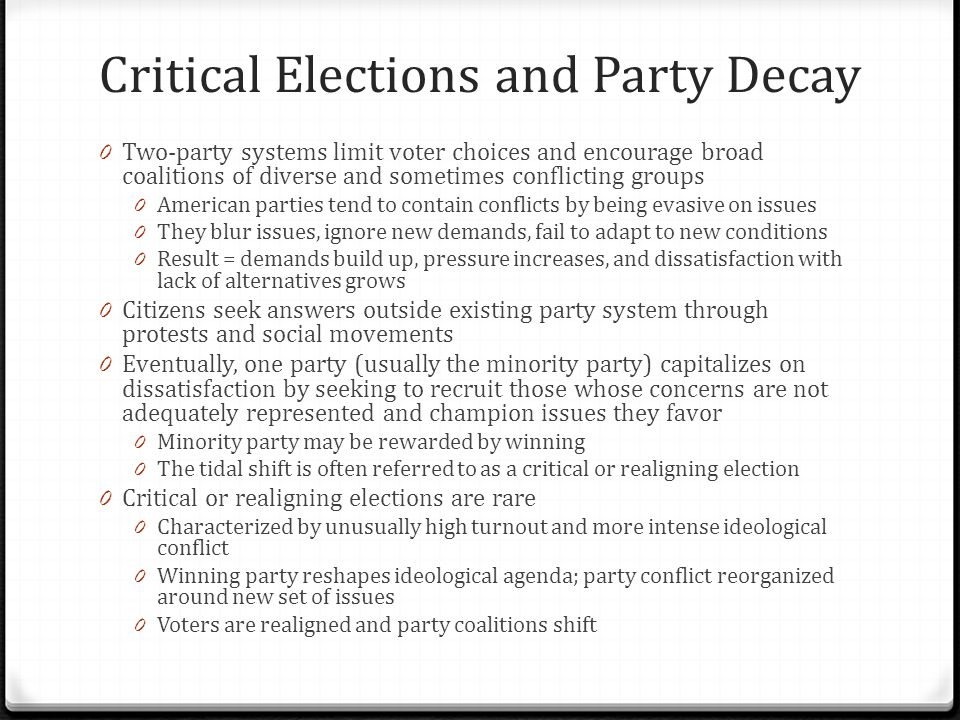 Critical Elections and Party Decay