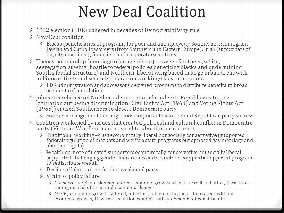 New Deal Coalition 1932 election (FDR) ushered in decades of Democratic Party rule. New Deal coalition.