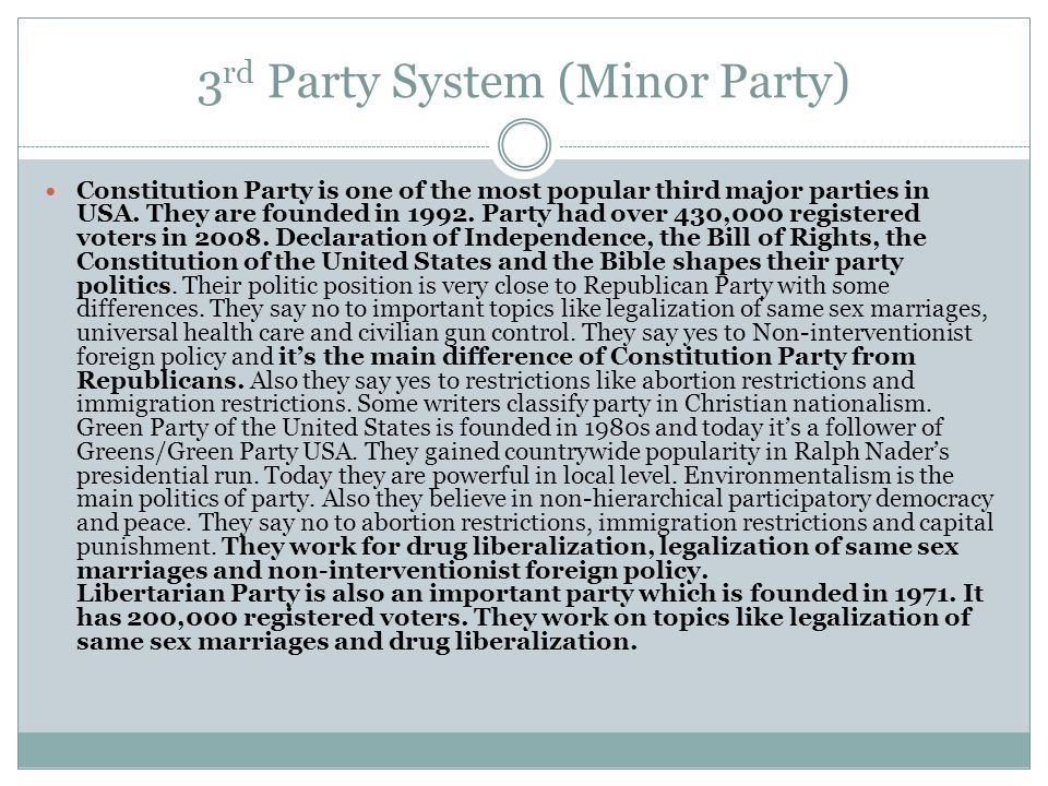 3rd Party System (Minor Party)