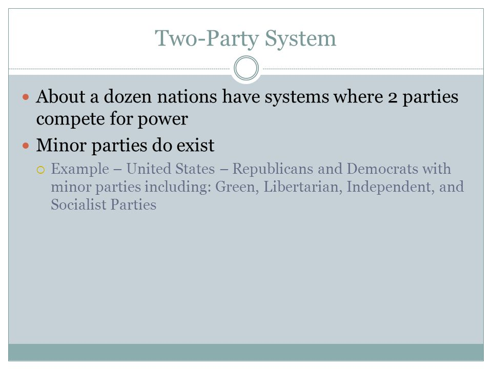 Two-Party System About a dozen nations have systems where 2 parties compete for power. Minor parties do exist.