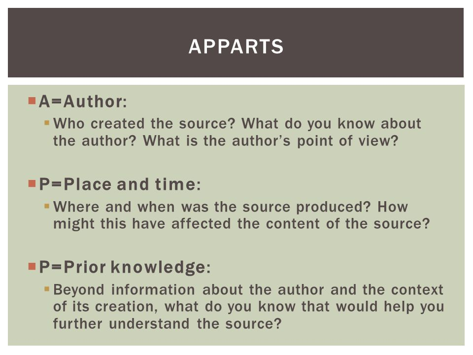 APPARTS A=Author: P=Place and time: P=Prior knowledge: