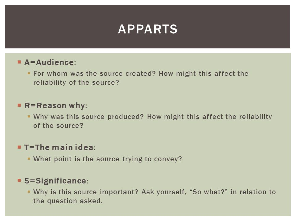 APPARTS A=Audience: R=Reason why: T=The main idea: S=Significance: